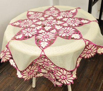 Sunflower  Embroidery Table cloth 85X85CM(34X34 Inches) squre(Pink, Golden, Bule)