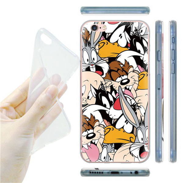 Cute Cartoon Animal Dvuck Daisy Design Transparent Case For Apple iphone 5 5s 6 6s Super