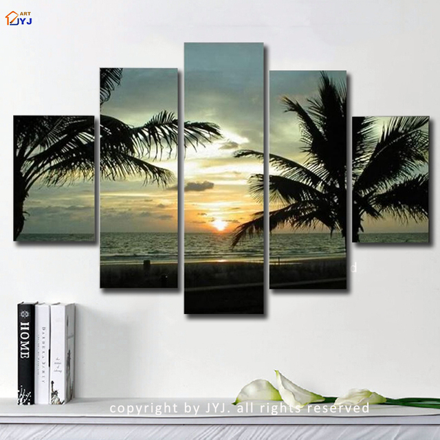 Sunrise Seascape Picture Wall Art  Handpainted Modern Abstract Oil Painting on Canvas  for Living Room Decoration Gift  JYJLV235