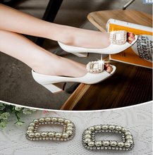 Free shipping (6 PCS/lot) Diamond pearl gold silver square buckle shoes clip DIY craft shoe buckle hardware metal buckle(China (Mainland))