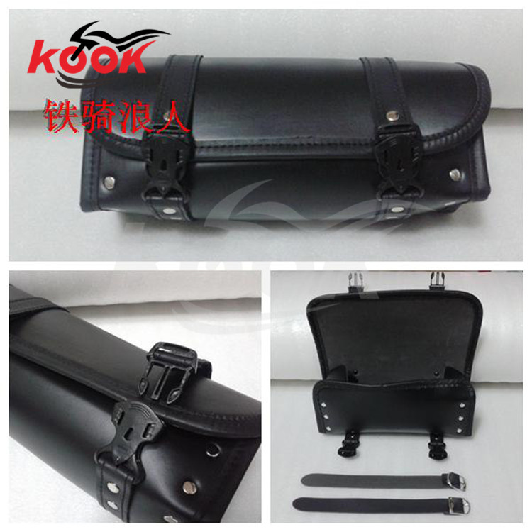 black Leather motorcycle bag for Harley Davidson pack bags Barrel Pouch Bag Tool Cool Auto Accessories Rear universal harley hot(China (Mainland))