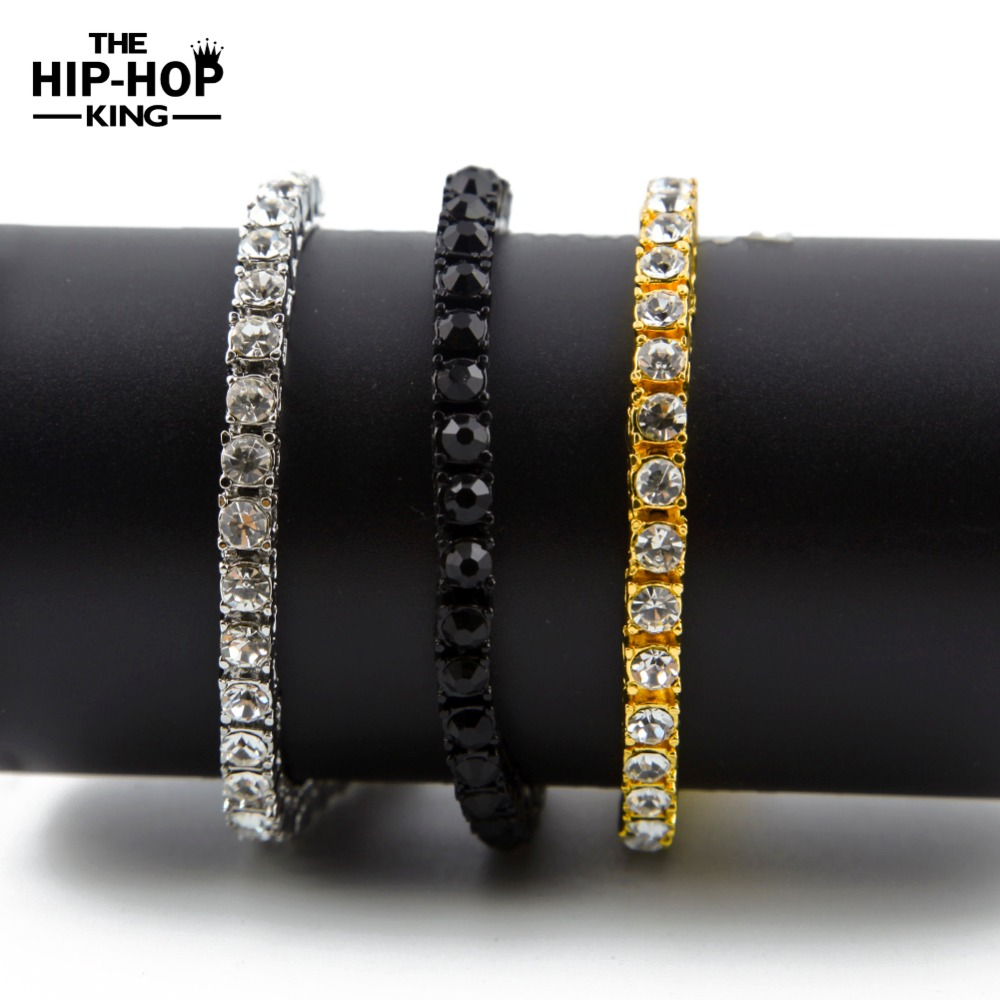 """Iced Out 1 Row Rhinestones Bracelet Men's Hip Hop Style Clear Simulated Diamond 8"""" Bracelet Bling Bling(China (Mainland))"""