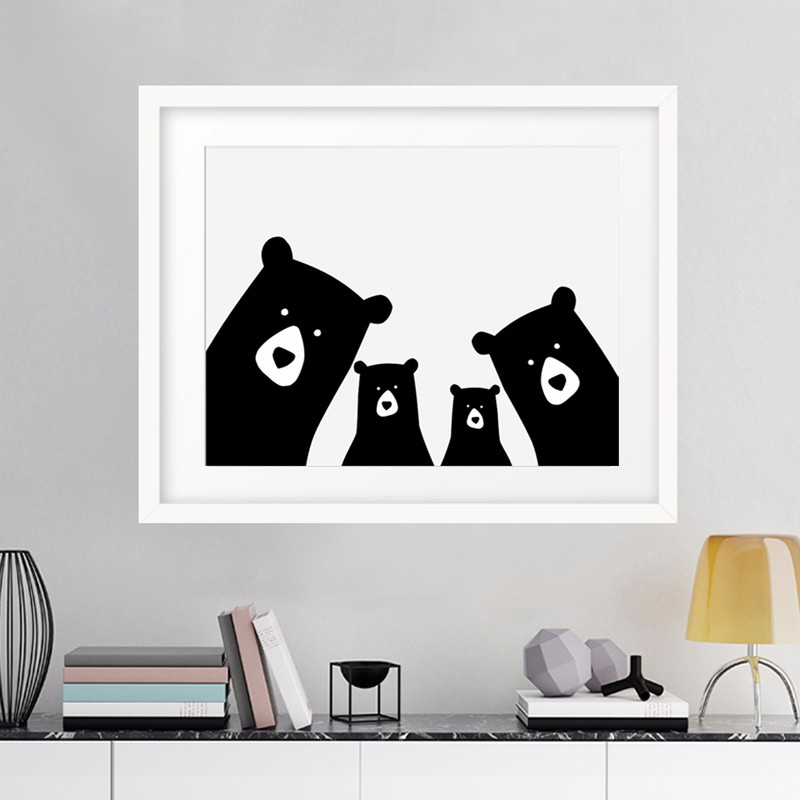 Modern Family Wall Decor : Bear family animal print wall picture canvas art poster