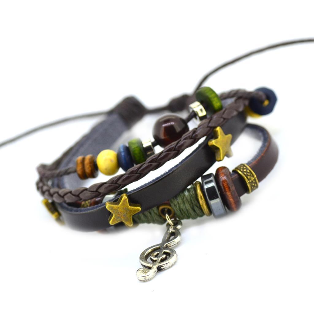 Vintage Retro Handmade Bohemia Wooden beads Adjustable Leather Bracelet For Женщины Men Unisex Jewelry Star Silver Bracelet Bangle