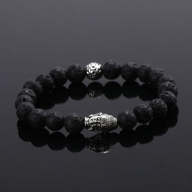 2015 новый черный вулканического камня бусины будда браслет мужчины черный браслет ...