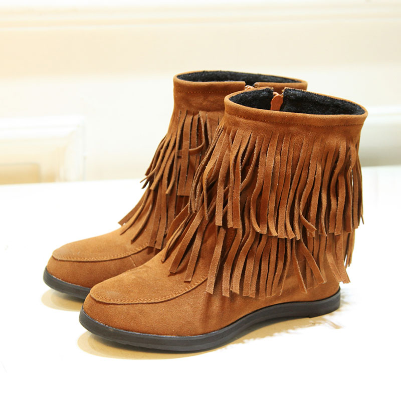 2015 Women fashion fringe boots suede ankle short flats comfortable height increasing brown black red colour plus size J4255<br><br>Aliexpress