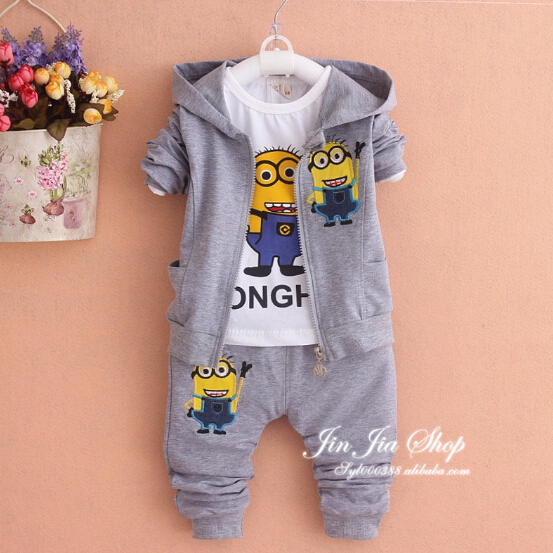 embroidery 3piece suit for boys clothes despicable me 2 minion children's clothing long-sleeved children girls baby garment(China (Mainland))
