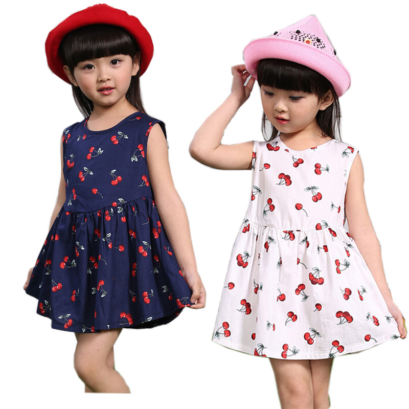 Baby Girls Dresses Summer Matching Children Dress Plus Size Girls Cherry Print Cotton toddler Family Clothing Vestidos(China (Mainland))