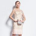 Slim Dress 2017 New European Fashion Summer Women s Vintage New Half Sleeve Above Knee Beige
