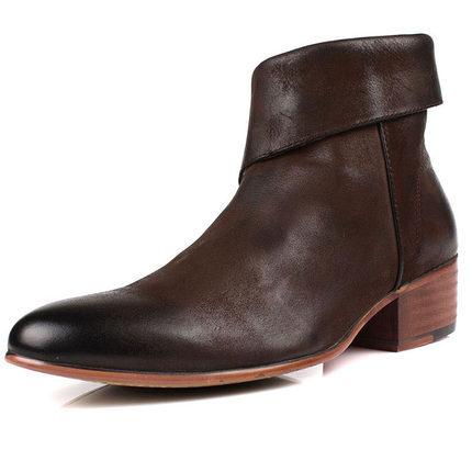 Trend cowhide boots nubuck cowhide handmade men's boots genuine leather denim cowboy western martin boots men's shoes zipper(China (Mainland))