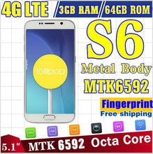 """Real 4G LTE HDC 5.1"""" S6 G920F Mobile Phone MTK6592 Octa Core 16MP s6 edge Smartphone Infrared Metal 2G Ram 64GB Rom Cell Phones"""