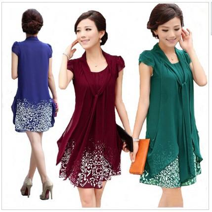 Summer dress 2015 New Women's casual plus size M/L/XL/2XL/3XL/4XL/5XL chiffon dress print dresses work wear clothing(China (Mainland))