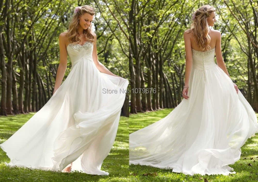 Beautiful white long chiffon summer bridal gowns pearls for White wedding dresses with long trains