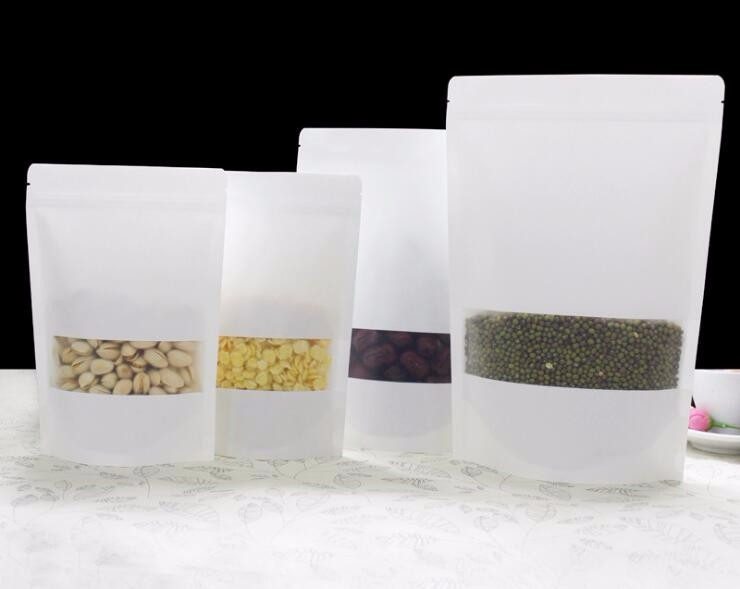 14*20+4cm 1000pcs white Scrub kraft paper bags stand up Zipper/zip ...