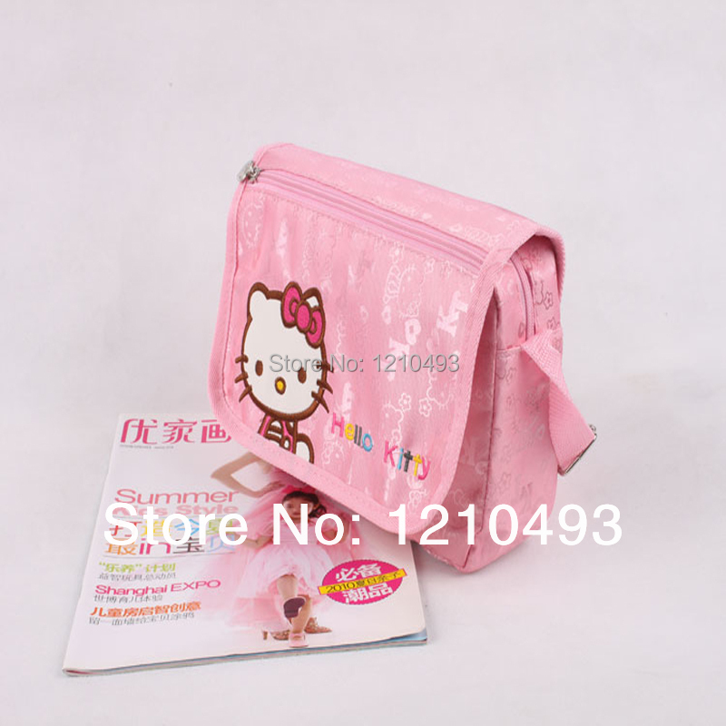 New 2014 Girl's Casual Messenger Bags Kids Student School Bags Hello Kitty Pink Color Cross Bags(China (Mainland))