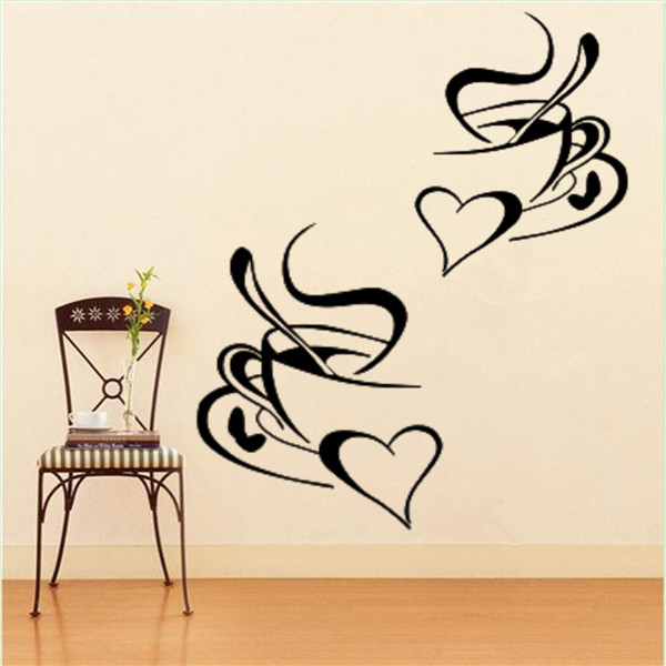 60 x 25cm 1PC 2 Coffee Cups Sticker Decal Heart Cafe Restaurant Wall Window Mural Decor Create your own Home Furnishing style.(China (Mainland))