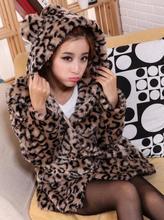 Brand 2014 autumn winter women ear hood faux fur coats leopard tiger grain thick long fur Korean fashion slimming jacket E468(China (Mainland))