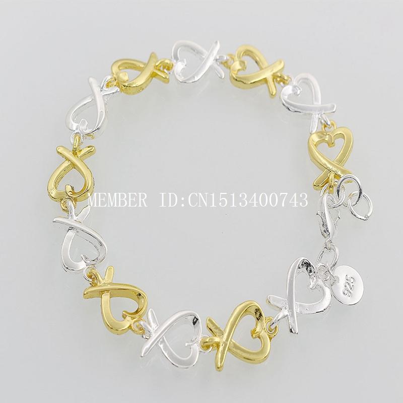 H047 Silver copper Nickel Free fashion beautiful heart chain bracelets women girls  -  Men's ladies jewelry store