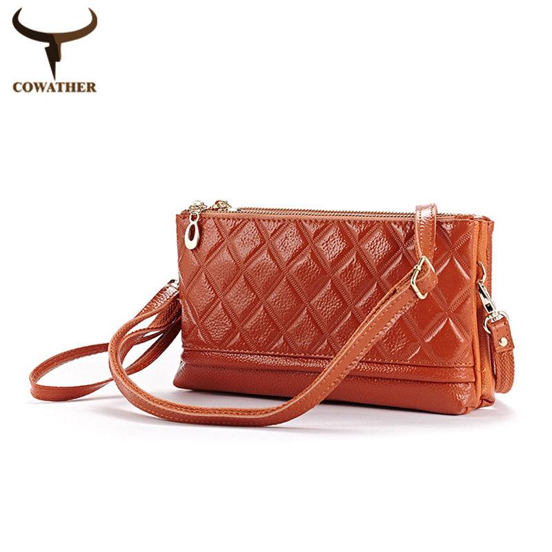 [COWATHER]Messenger bags for women patent leather diamond lattice 2016 handbags female most popular choice free shipping(China (Mainland))