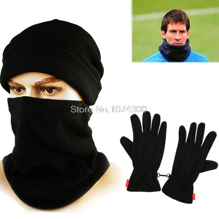 Hat Scarf and Gloves Set for women men winter Outdoor sports Caught wearing soccer fleece cashmere face mask Football YT03(China (Mainland))