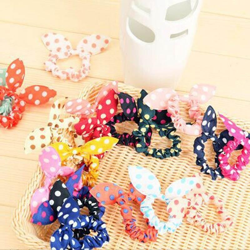 10 Pcs/lot Cute Bunny Baby Girl Flower Hair Clip Headbands Rabbit Ears Dot Headwear Lovely Elastic Hair Rope(China (Mainland))