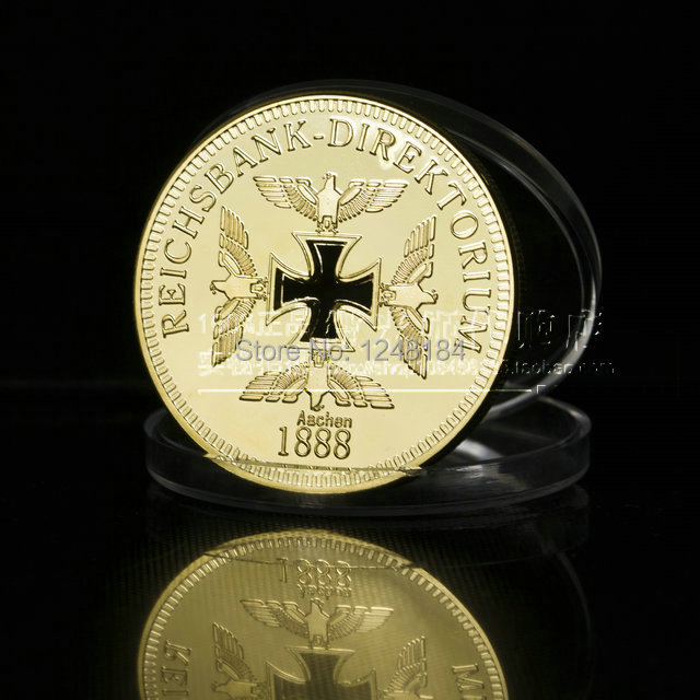 Lot wholesale high quality 200pcs/lot Brand new German 24K gold plated Cross War Coins gift products(China (Mainland))