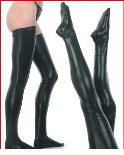 Black Latex Stockings Faux Leather Wet Look Vinyl Fetish Stocking LC7796 + Cheaper price + Drop Shipping Cost + Fast Delivery(China (Mainland))