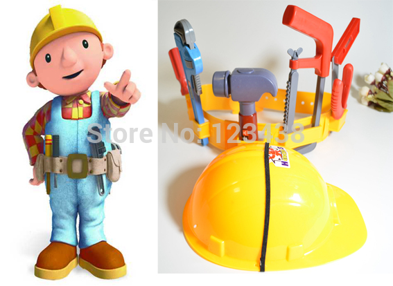 Artificial Plastic Kids Engineer Carpenter Tools Belt Safety Cap the Builder Pretend Play , Toys for Boys Children(China (Mainland))