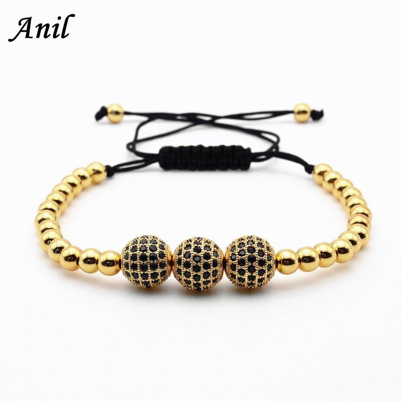 Anil Arjandas Men Bracelets,24K Gold Plated Beads & 10mm Micro Pave Black CZ Beads Briading Macrame Bracelet Pulseira Feminina(China (Mainland))