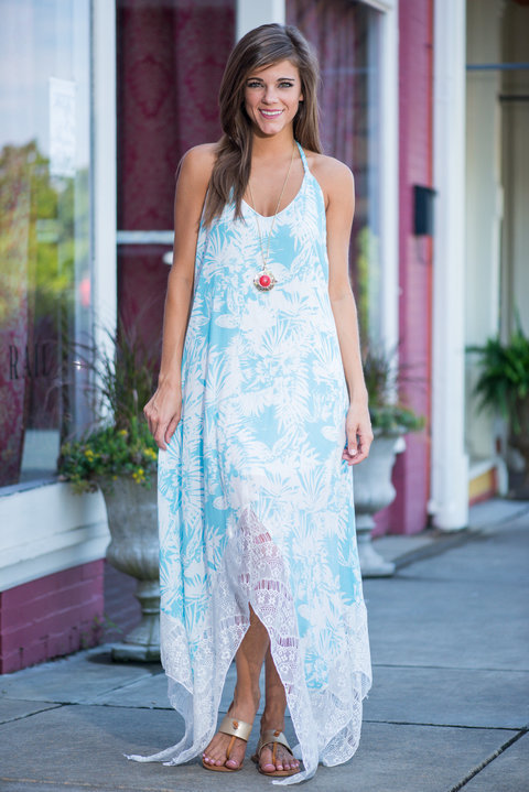 country style summer dress 2015 sky blue women casual long