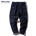 Port Lotus Men Haren Jeans With Hole New Arrival Ankle Length Pants Slim Fit Straight Pants
