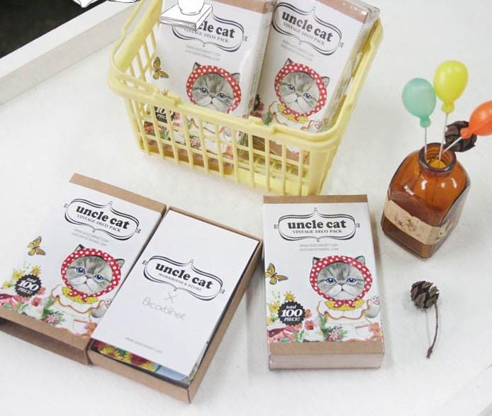New cute 100pcs/set Kwaii Uncle Cat Bookmark set / 20pcs bookmark + 70pcs sticker + 10pcs card / Wholesale(China (Mainland))