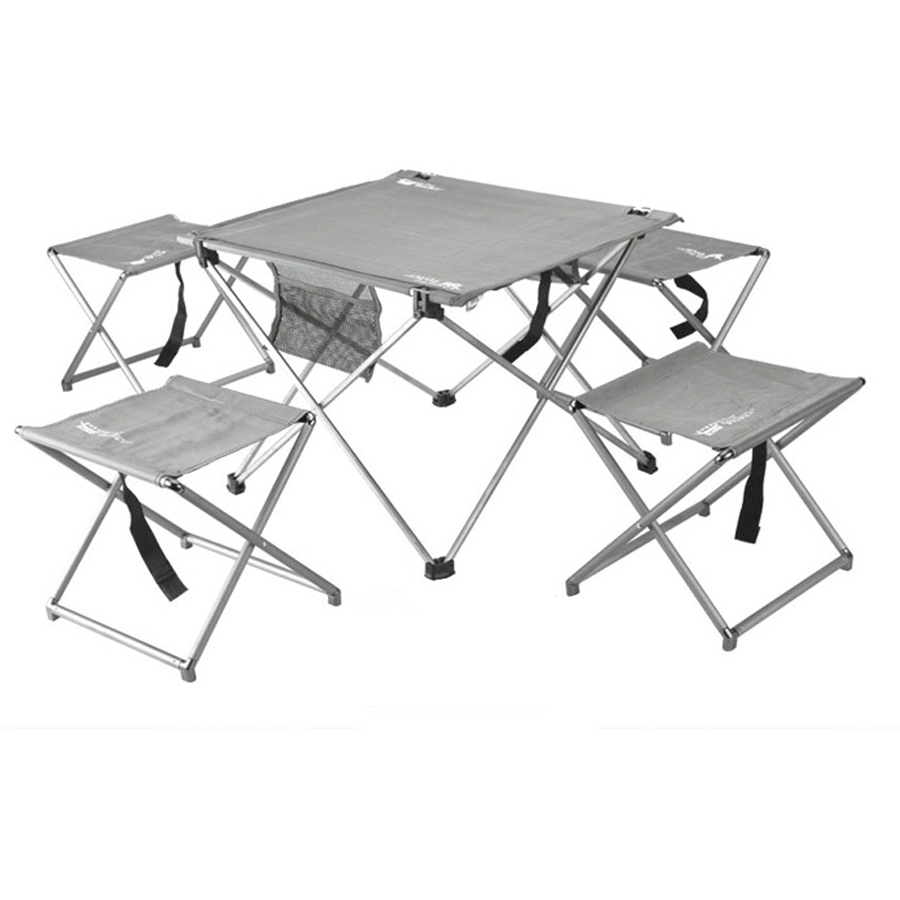 Outdoor Furniture Set Portable Folding Camping Fishing Garden Table And Chairs Lightweight Picnics Aluminium Tabel & 4pcs Chair(China (Mainland))
