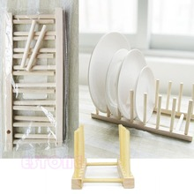 2015 New New Wooden Drainer Plate Stand Wood Dish Rack 7 Pots Cups Display Holder Kitchen(China (Mainland))