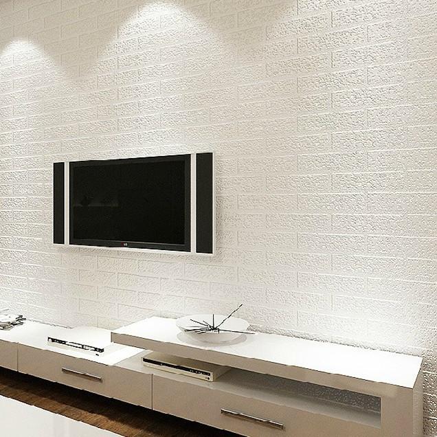 Buy 3d white brick wallpaper rolling for Wallpaper pvc 3d