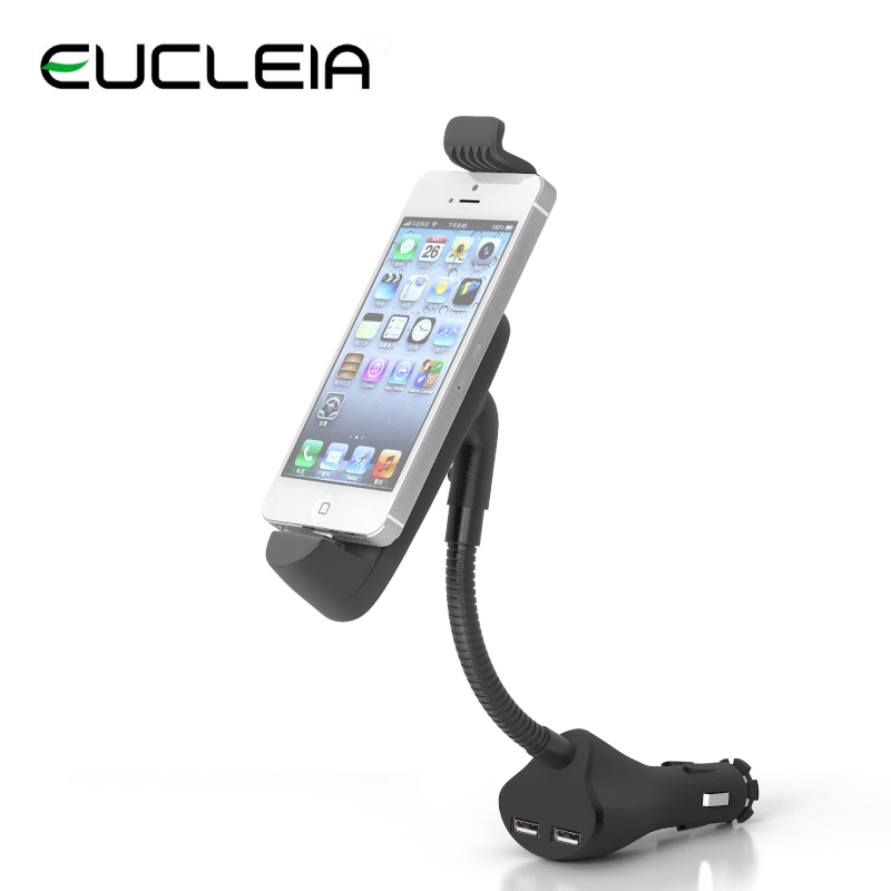 Universal Car Phone Holder For Iphone 5 Mobile Phone Non-slip Scrub Goose Neck Dual USB Charger Free Shipping(China (Mainland))