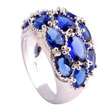 Luxuriant Bohemia Style Jewelry Oval Cut Blue Sapphire Quartz 925 Silver Ring Size 7 8 9