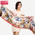 175 45cm Floral Flower Pashmina Fashion Satin Painting Silk Scarf Women luxury Brand Winter Warm Soft