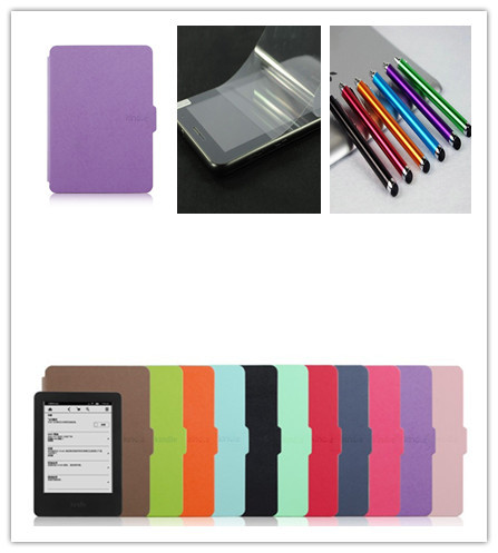 for amazon 2014 new kindle touch screen 7 7th generation 6'' ereader slim protective cover smart case+screen protecor+stylus(China (Mainland))