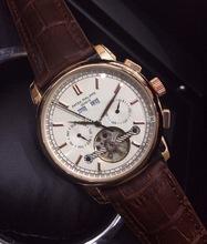 Marca de lujo marrón hombres moda de cuero de PP de acero inoxidable movimiento automático del reloj para hombre auto viento relojes de pulsera