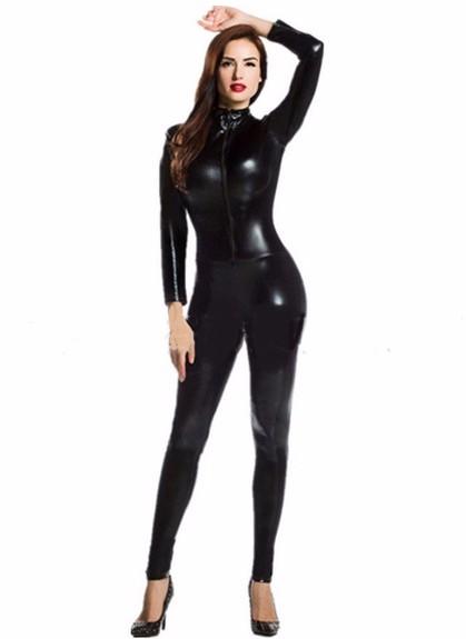new 2016 womens long sleeve zentai bodysuit jumpsuit sexy black shiny latex full body zentai. Black Bedroom Furniture Sets. Home Design Ideas
