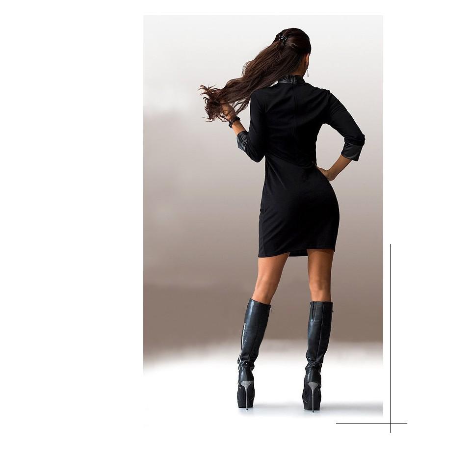 Новый женский сексуальное миниое платье женщины искусственная лоскутная с длинным рукавом карманы носить на клуб ну вечеринку оболочка карандаш vestidos