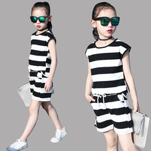 Buy Kids Clothing Sets Girls Summer Stripe Outfits Infant Cotton Sets Vest & Pants 2pcs Suits 6 10 12 Years Children Tops Shorts for $12.95 in AliExpress store