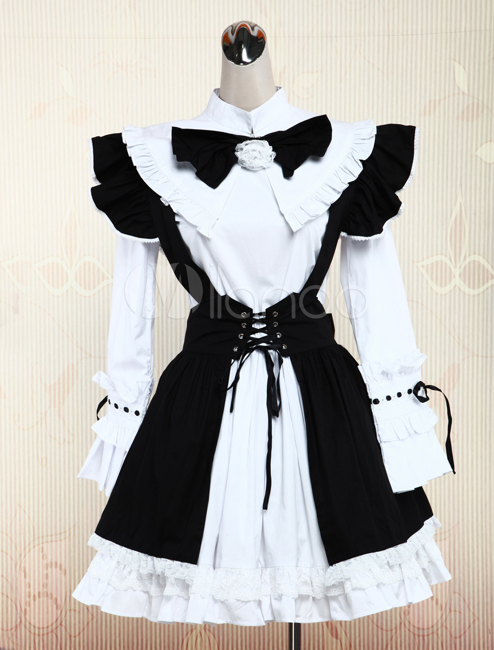 Free shipping! Newest! High - quality! Cotton White Long Sleeves Blouse And Black Cotton Punk Lolita Dress