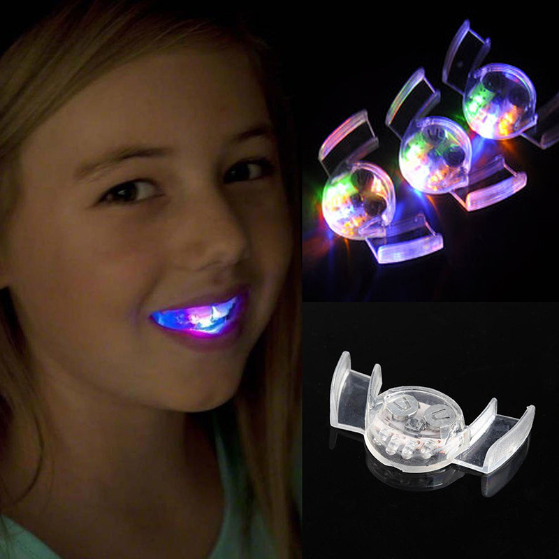 New Coming 2pcs Flashing Silicone Brace Mouth LED Light-up Party Toys for Children Adult(China (Mainland))