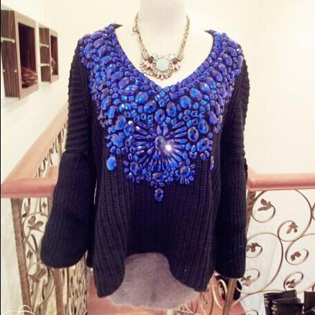 Free shipping New Handmade jewels knitted sweater women wool Pullovers sweater brand bat sleeve Babydoll sweater S107(China (Mainland))