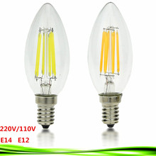 Buy 1pcs 4W 6W 9W LED E14 bulb E12 220V 110V AC dimmable C35 LED bulb Filament Candle lamp light warm/cold white Chandelier crystal for $1.65 in AliExpress store