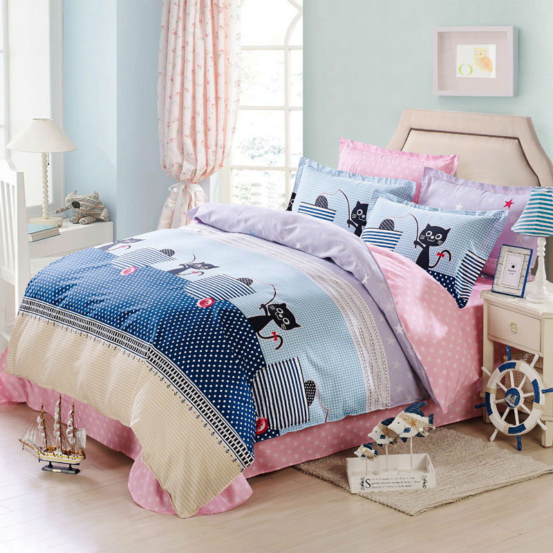 100% Cotton cute black cats buttons zippers white dots deep blue duvet cover sets Queen Double size bedding set(China (Mainland))