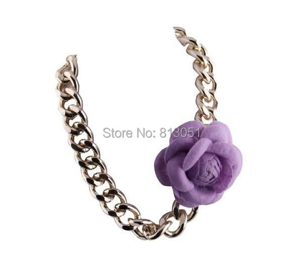 Free shipping!!!Zinc Alloy Necklace,Kawaii,, with Felt, with 5cm extender chain, Flower, gold color plated, curb chain<br><br>Aliexpress