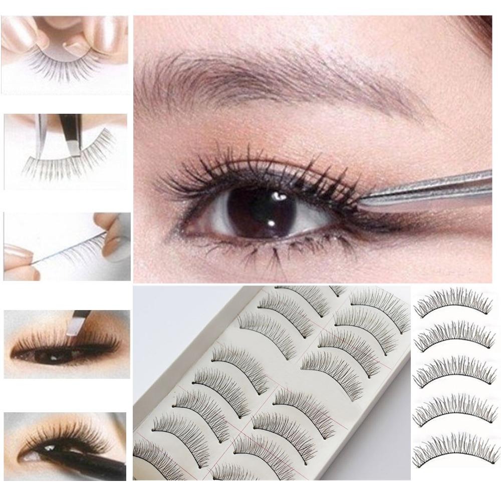 2015 New Arrvial 10 Pairs Black Natural Long Thick False Eyelashes Fake Eye Lashes Makeup Tips Free Shipping WHS659(China (Mainland))